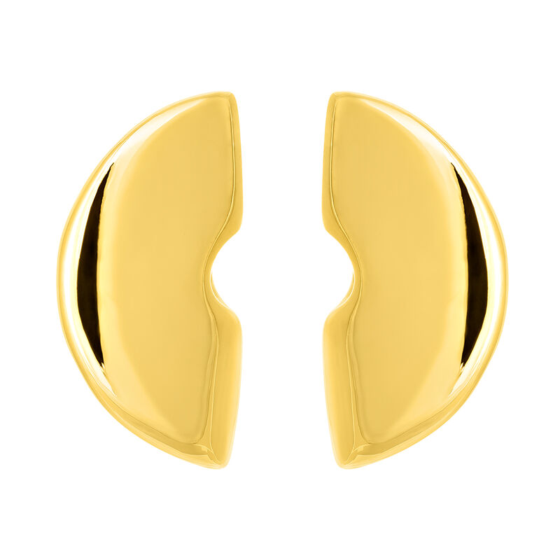 Large gold sculptural earrings, YELLOWGOLDPLTD STERLING SILVER, hi-res
