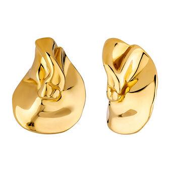 Boucles d'oreilles pétales en argent plaqué or, J04252-02, hi-res